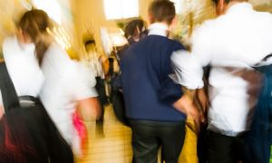 A busy corridor in a secondary school
